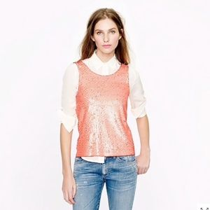 NWT J. Crew Heathered Sequin Sleeveless Top Peach